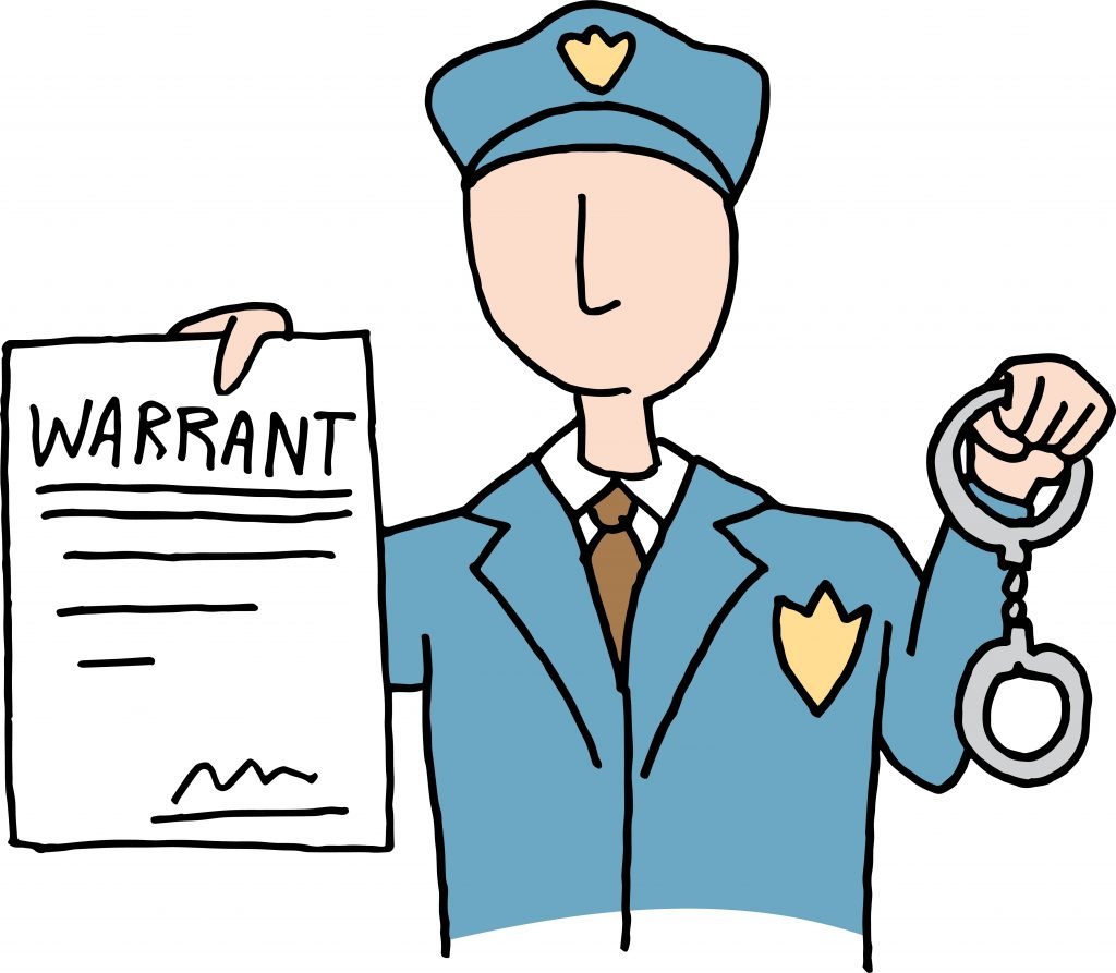 A picture of a police with a warrant